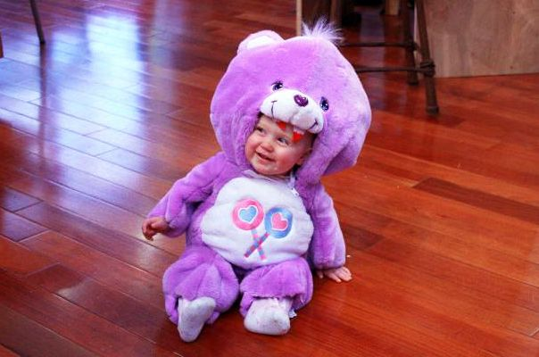 DIY Baby Care Bear Costume - What do you do with a baby-sized Care Bear? You skin it and make a baby-sized Care Bear Skin Coat, obviously!