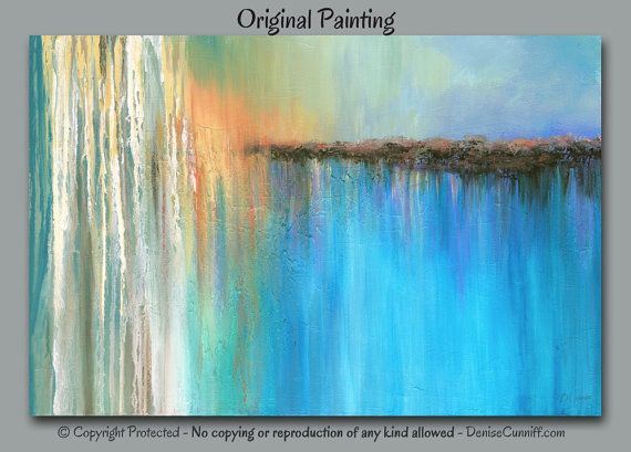 Abstract Painting Designed For Teal And Coral Home Or Office Decor. Artist:  Denise Cunniff