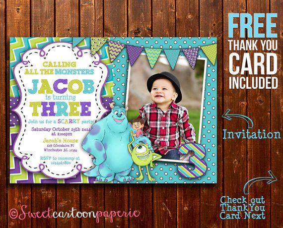 Monster Inc Invitation Monster Inc Photo by SweetCartoonPaperie