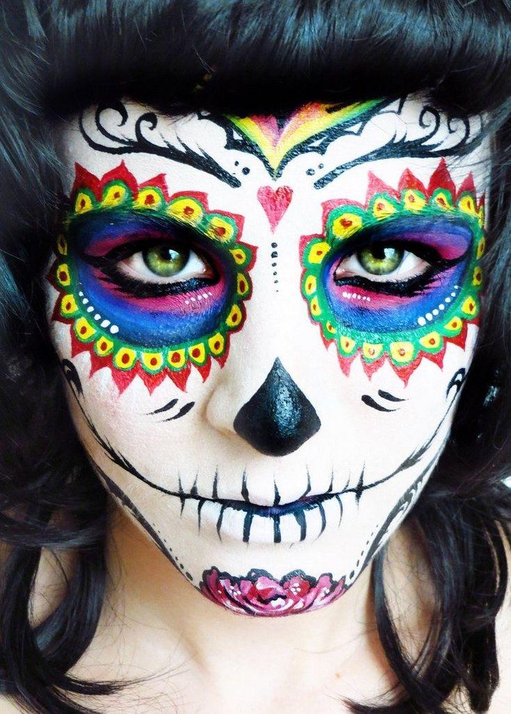 idée de maquillage tête de mort mexicaine avec ombres roses, bleues, vertes, jaunes et rouges