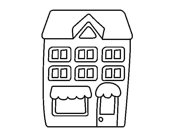Dibujo De Casa Con Pisos Para Colorear Dibujo De Casa Pisos Dibujos De Edificios