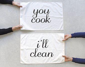 Team Towels tea towel set of 2 You Wash I'll by blackbirdtees