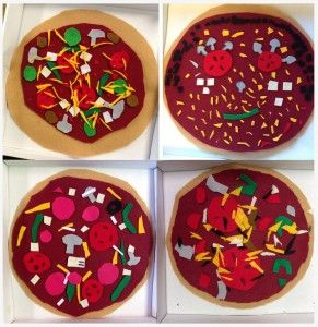 "Felt Pizza. No need for glue, the pieces all stick together. 12"" box makes it fun to label and personalize. #artprojectsforkids"