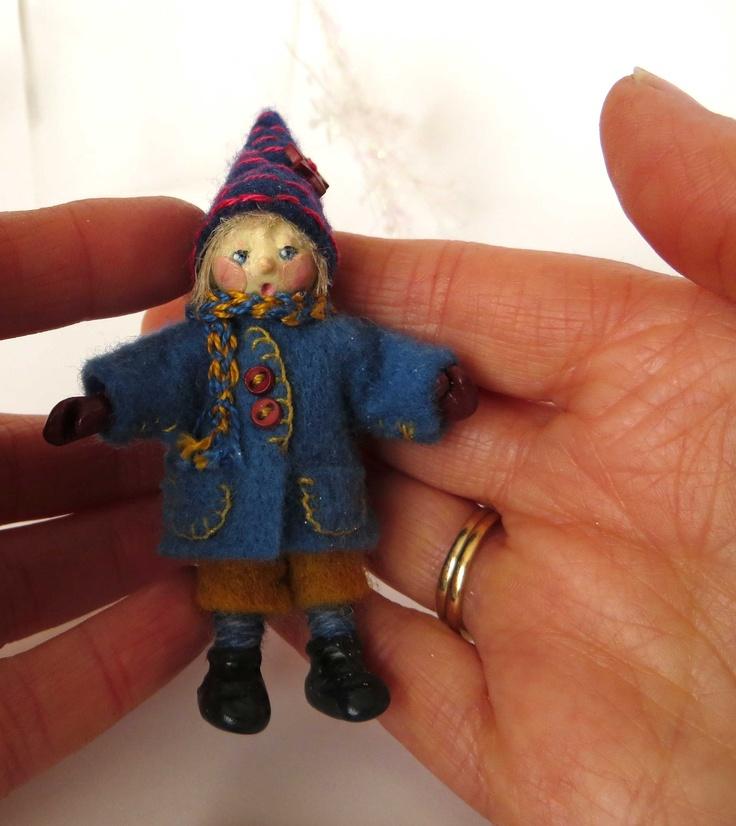 """Rolf"", Felt and polymer clay miniature art doll by Lorraine K. Muenster of Winnipeg"