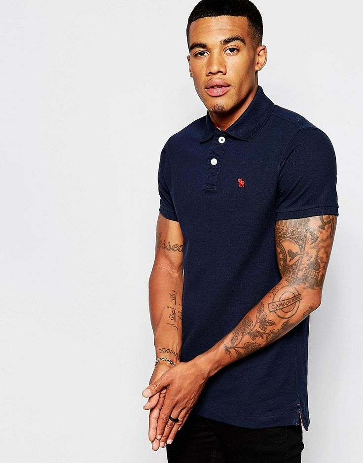 De sejeste Abercrombie & Fitch Polo Shirt with Logo In Muscle Fit - Navy Abercrombie & Fitch Plain til Herrer i fantastisk kvalitet