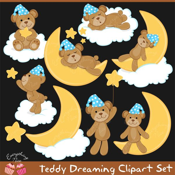 Teddy Dreaming Clipart Set
