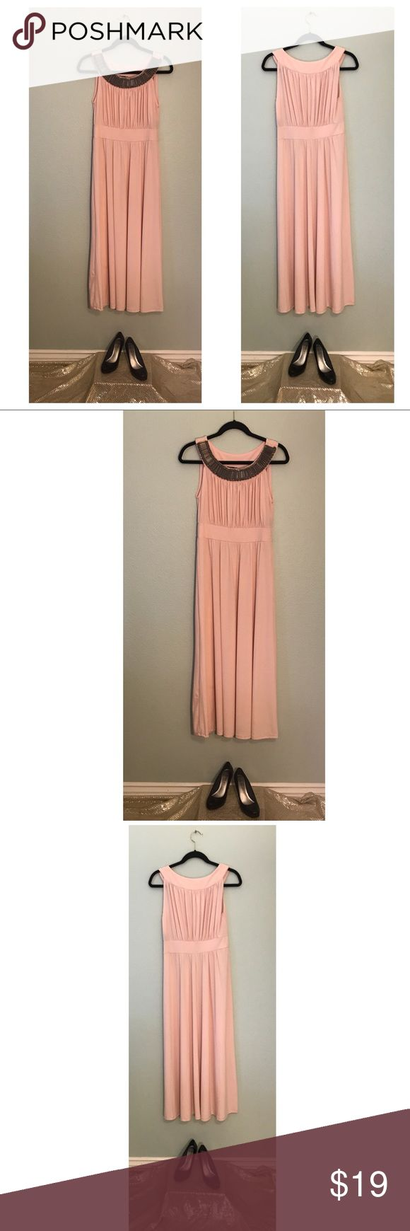 """NWT HAANI Light Pink Slip On Flowy Maxi Dress NWT. Beautiful and Slimming HAANI Light Pink Embellished neck fitted waist Flowy formal or casual maxi dress. Length is about 52"""" from top of shoulder to bottom of dress. Bust is about 16"""" wide from side to side. Waist is about 14"""" wide laying flat measured from side to side. Shoes are not included but may be available in my closet, they are Madden Girl size 7. FAST SHIPPING, top rated seller, bundle for the best deals! HAANI Dresses Maxi"""