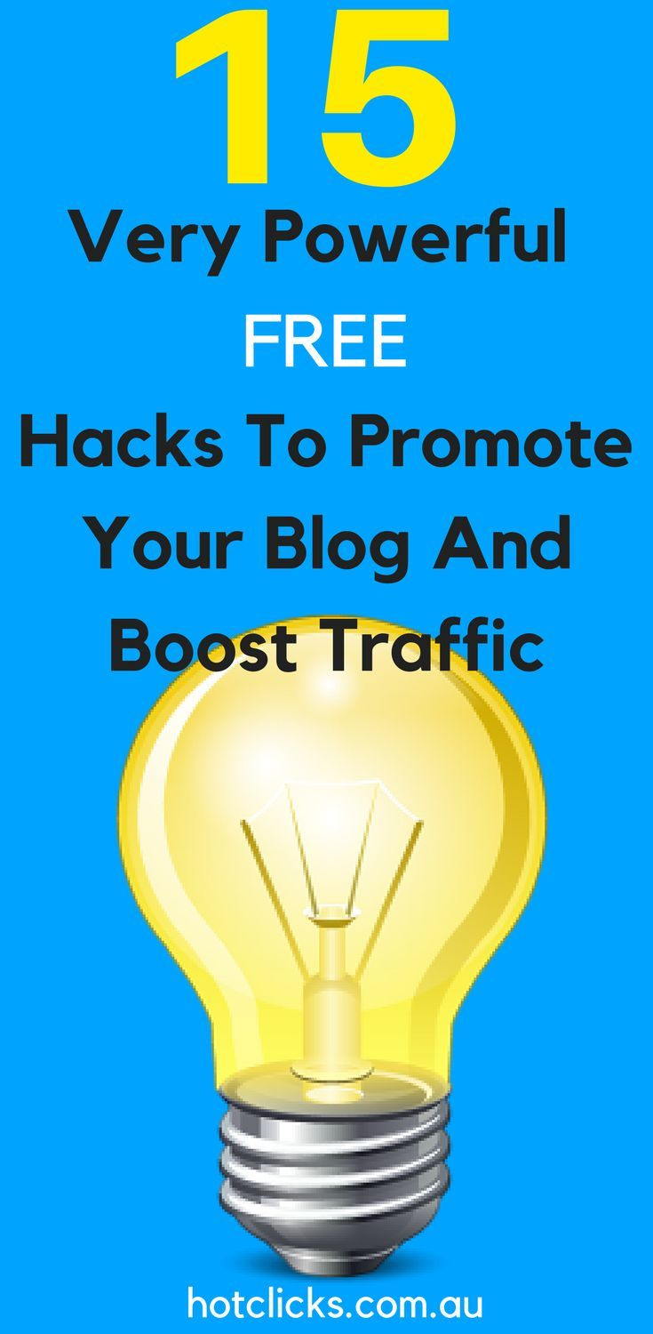 15 Powerful Free Hacks To Promote Your Blog And Boost Traffic  15 Powerful Free Hacks To Promote Your Blog And Boost Traffic  Many people, start blogs with lofty dreams — to build an #audience, leave their day job, land a book deal, or simply to share their genius with the rest of the world.   Getting started is relatively easy, since all it takes to maintain a blog is a little time and some good old-fashioned inspiration. So why do #blogs have a higher #failure #rate than even restaurants?