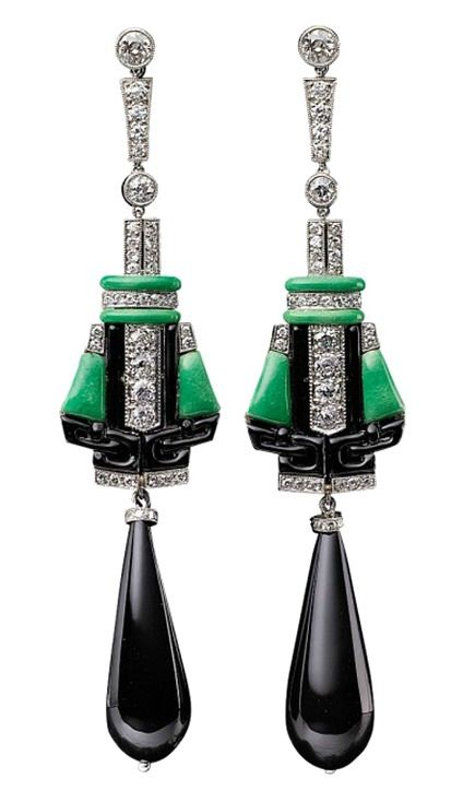 jordan retro high heels Art Deco Onyx  Diamond  amp  Platinum Earrings