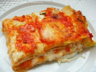 #Primo #piatto: #lasagne di crêpes con pomodoro e mozzarella
