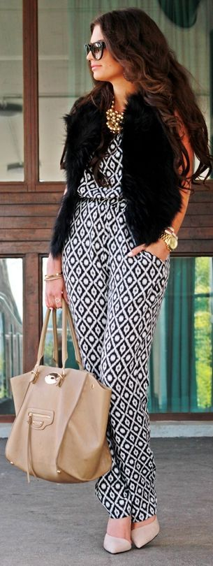 Hallhuber Black And White Loose Fit Geometric Pattern Jumpsuit by Fashion Hippie Loves