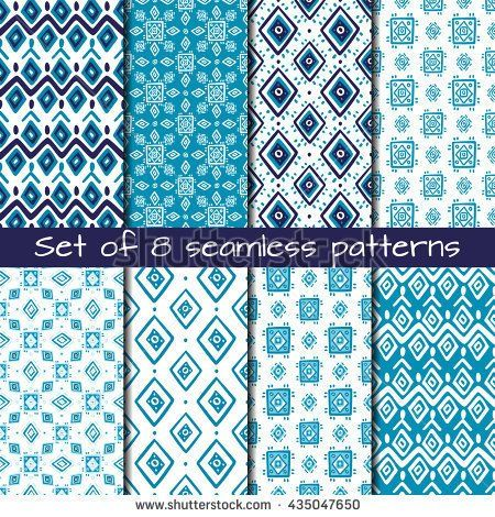 Set of 8 seamless patterns in ethnic style. Boho ornament. Tribal art print, background for fabric design, wallpaper, wrapping.