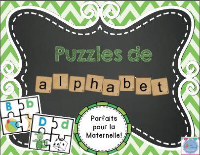 Puzzles de l'alphabet- 26 casse-têtes avec majuscule, minuscule et images!