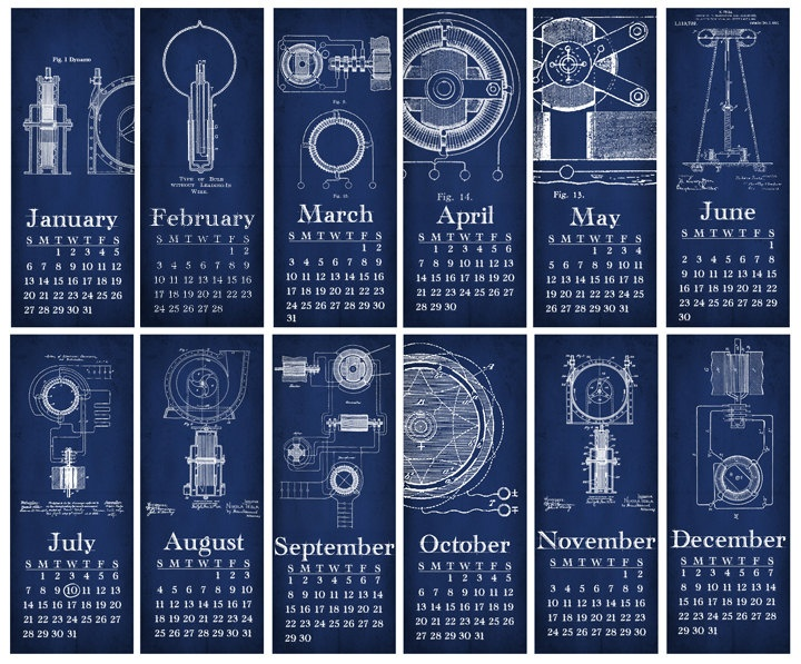 DIY Printable Tesla Inventions Blueprint Wall Calendar - 4-1/4x11 inch. $5.00, via Etsy.