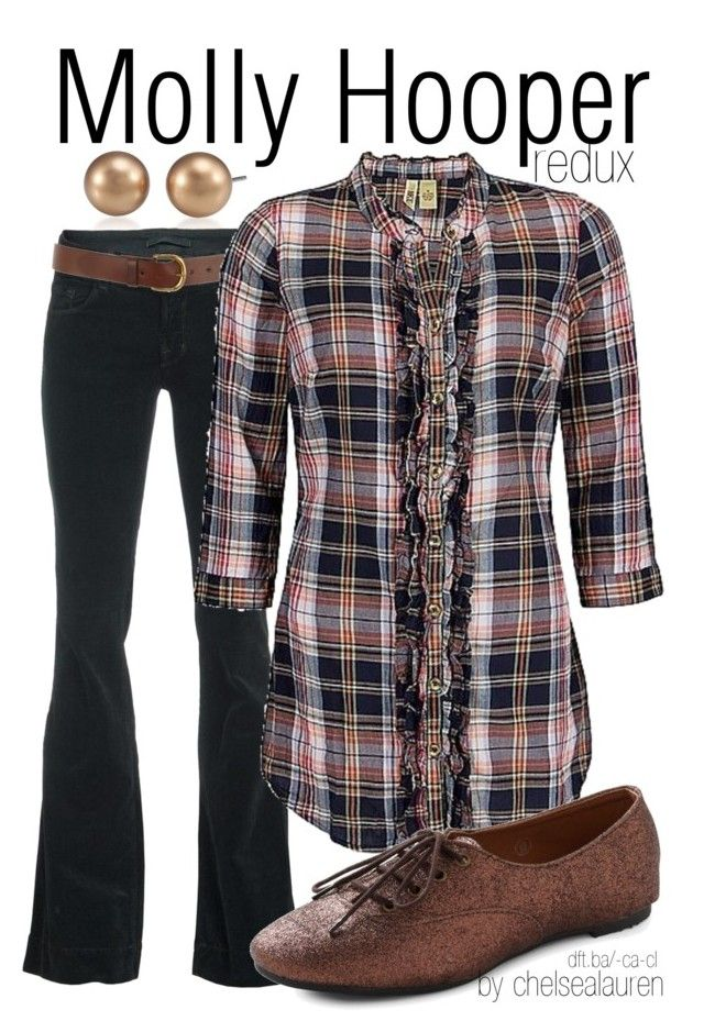 """""""Molly Hooper (redux) - Sherlock"""" by chelsealauren10 ❤ liked on Polyvore featuring Carolee, J Brand, Warehouse, BKE, plaid shirts, flats, corduroy, flared jeans, sherlock and molly hooper"""