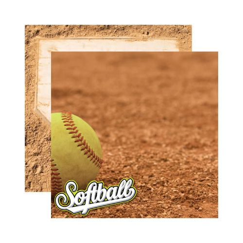 Reminisce - Real Sports Collection - 12 x 12 Double Sided Paper - Softball at Scrapbook.com