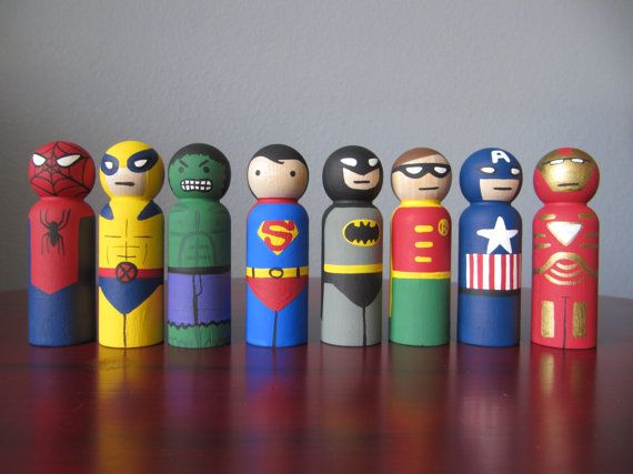 Super Hero Peg People Set of 8 Wooden Hand Painted by PegBuddies