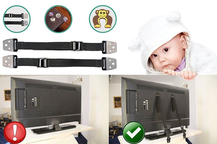 furniture straps for toddler, baby proofing. Earthquake proof kit with 2 safety metal anchor.Bonus 4 corner childproofing protection edge guards, 1 door stopper set by BB Cute USA