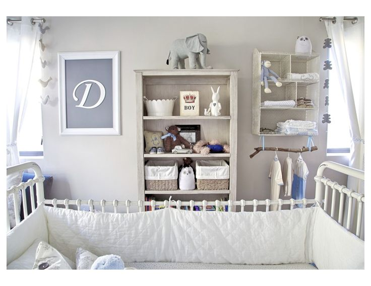 Beautifully styled shelves - love the wood branch used as a clothes hanger!: Classic Baby, Baby Boys Nurseries, Wall Color, Projects Nurseries, Baby Rooms, Styles Shelves, Woods Branches, Baby Boy Nurseries, Clothing Hangers