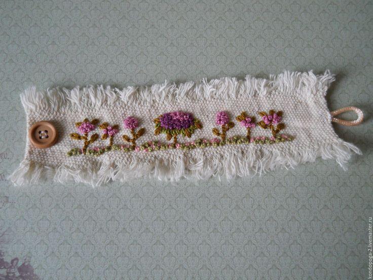 """Купить Браслет """" Цветы"""" - Браслет ручной работы, браслет на руку, браслет текстильный"""
