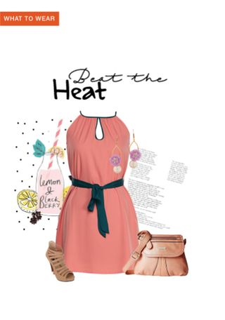 'Beat the Heat' by me on Limeroad featuring Solids Orange Dresses, Brown Sandals with White Earrings
