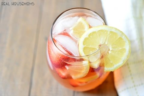 Strawberry Lemonade Sangria is super tasty, easy to make and my favorite summer BBQ drink!