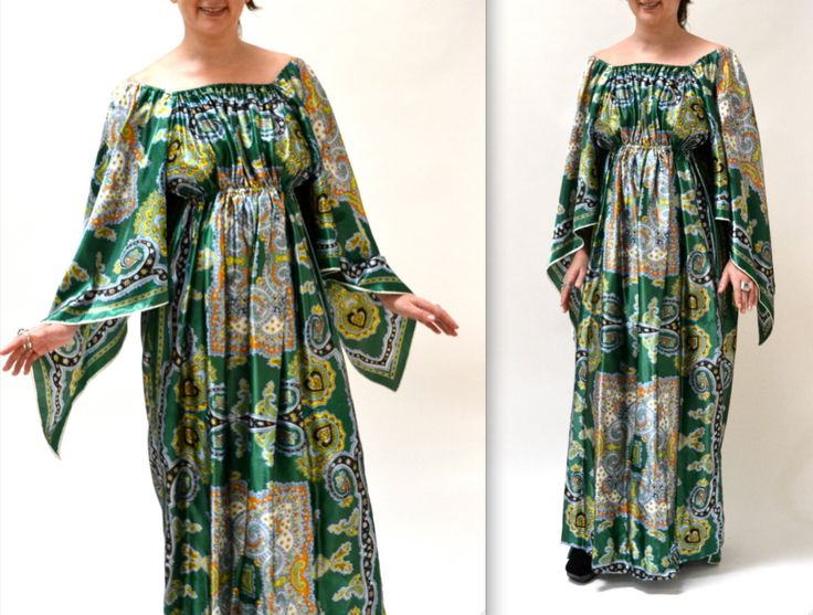 Vintage 70s Maxi Dress Caftan Kaftan Green Scarf Print// 70s Vintage Paisley Print Dress in Green SIze Large By David Edden by Hookedonhoney on Etsy