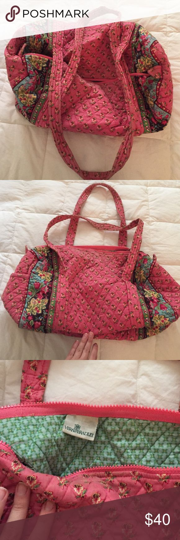 """Small Vera Bradley duffel bag Small Vera Bradley duffel bag in retired """"Pink Pansy"""" print. Bag is used but was well cared for. Signs of wear are on straps as shown, and mostly just fading of color. Vera Bradley Bags"""