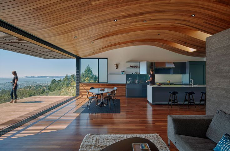 Terry & Terry Architecture designed this two-level modern family home in Oakland, California, that opens up to reveal spectacular uninterrupted views San Francisco Bay and the Golden Gate Bridge.