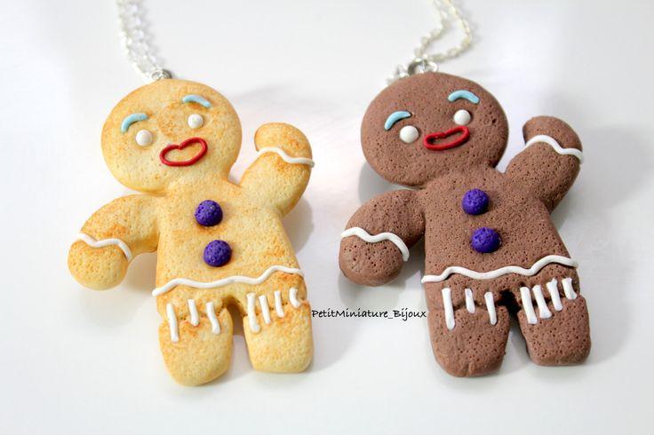 Gingerbread Men Collana / Collana Fimo - biscotti di Natale -Gioielli Cibo-Collezione di Natale di PetitMiniatures su Etsy