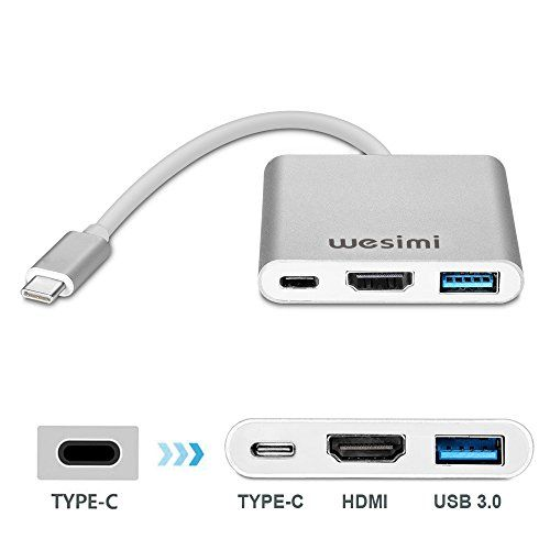 nice USB-C AV Digital adaptador multipuerto, wesimi adaptador USB 3.1Tipo C a HDMI 4K | USB 3.0Hub con 1puerto de carga para Apple nuevo MacBook, Google Chromebook Pixel (plata)