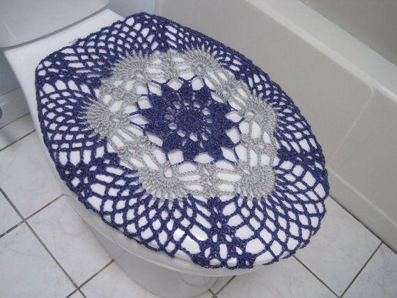 Crochet Toilet Seat Cover - eggplant/light grey