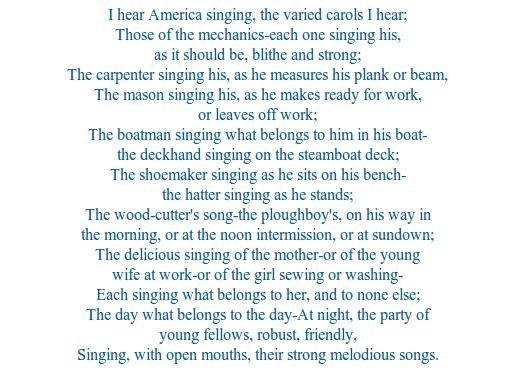 literary analysis of the book i hear america singing by walt whitman The pioneer in this first verse revolution was walt whitman 'i hear america singing' offers a about classic books literature, analysis.
