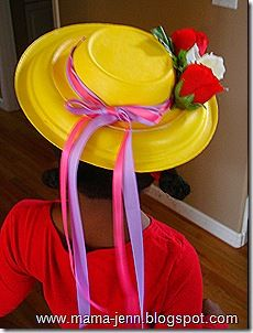 Making a hat out of a paper plate and bowl! Just paint & decorate with ribbons or fake flowers!