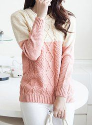 Casual Round Neck Long Sleeve Color Block Cable Knit Women's Sweater