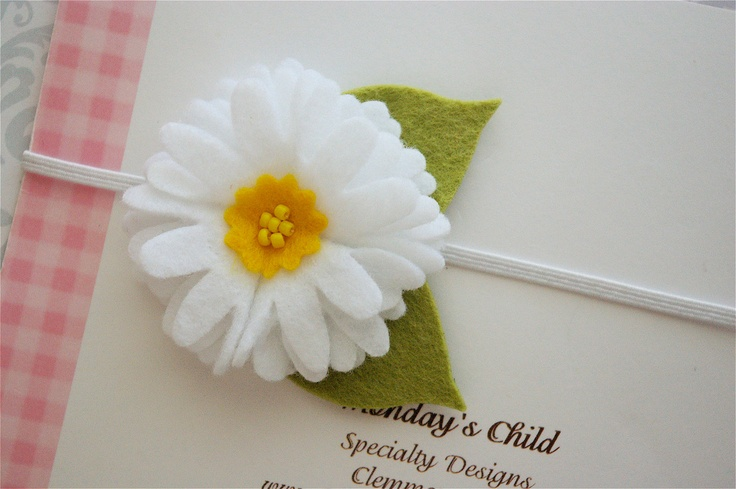 Felt Flower Headband - Felt Daisy Headband - Newborn Headbands, Baby Headbands, Baby Girl Headbands. $6.95, via Etsy.