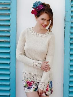 Solitaire - Knit this womens stocking stitch and lace sweater from the Truesilk Collection, designed by Martin Storey using the gorgeous yarn, Truesilk ...