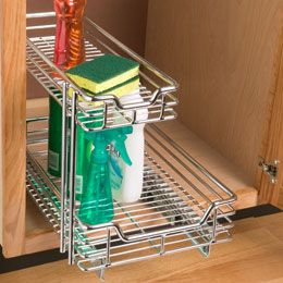 Sturdy Chrome 2-Tier Sliding Organizer to make the contents of your kitchen or bathroom cabinet easily accessible.  Once installed at the base of the cabinet, the organizer pulls out smoothly to provide visibility and quick access. $75.00