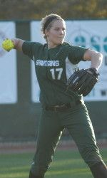 Michigan State softball gathered two wins in a doubleheader sweep over Penn State Wednesday at Secchia Stadium.  MSU picked up a 4-1 win in the first game and then went on to defeat the Nittany Lions, 7-1, in the second game. The Spartans now own a 19-13 record on the season overall and are 5-0 in Big Ten play.