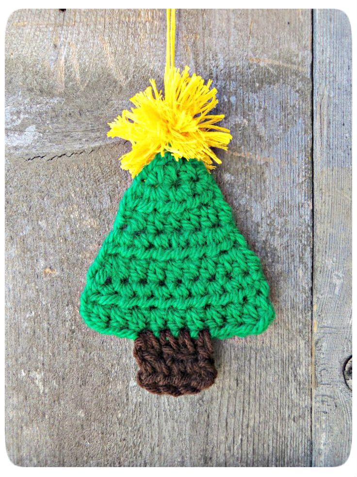 Mustard yellow christmas crochet trees ornaments crocheted tree