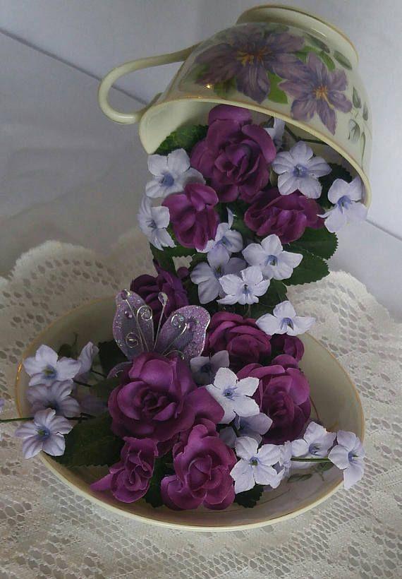 Floating Tea Cup Flying Tea Cup Vintage Purple Floral