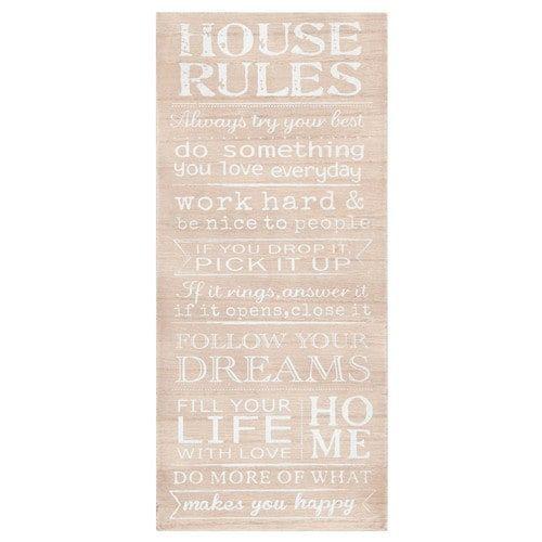 Tableau en paulownia 18x40cm HOME RULES
