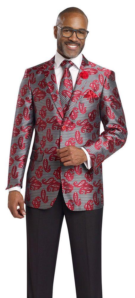 Black Red Blazer Men Paisley Floral Print Wedding Suit Jacket  J19 EJ Samuel  #EJSamuel #Dinner
