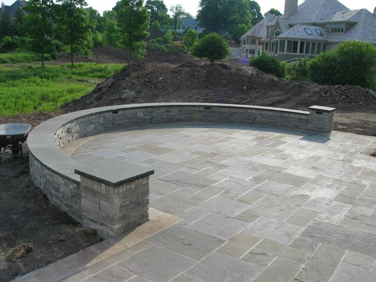 Work Pics U003e Curved Lannon Stone Wall , A Pattern Bluestone Patio