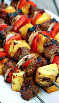 Barbecue Steak and Pineapple Kabobs