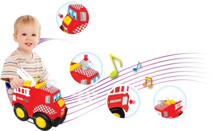 Wóz strażacki, który jeździ, wygrywa  wesołe melodie oraz mówi rymowanki.  http://www.dumeldiscovery.pl/seria_jezykowa/woz_strazacki.html