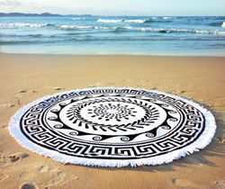 Round Beach Towel 100% Cotton Velour 1500mm Diametre