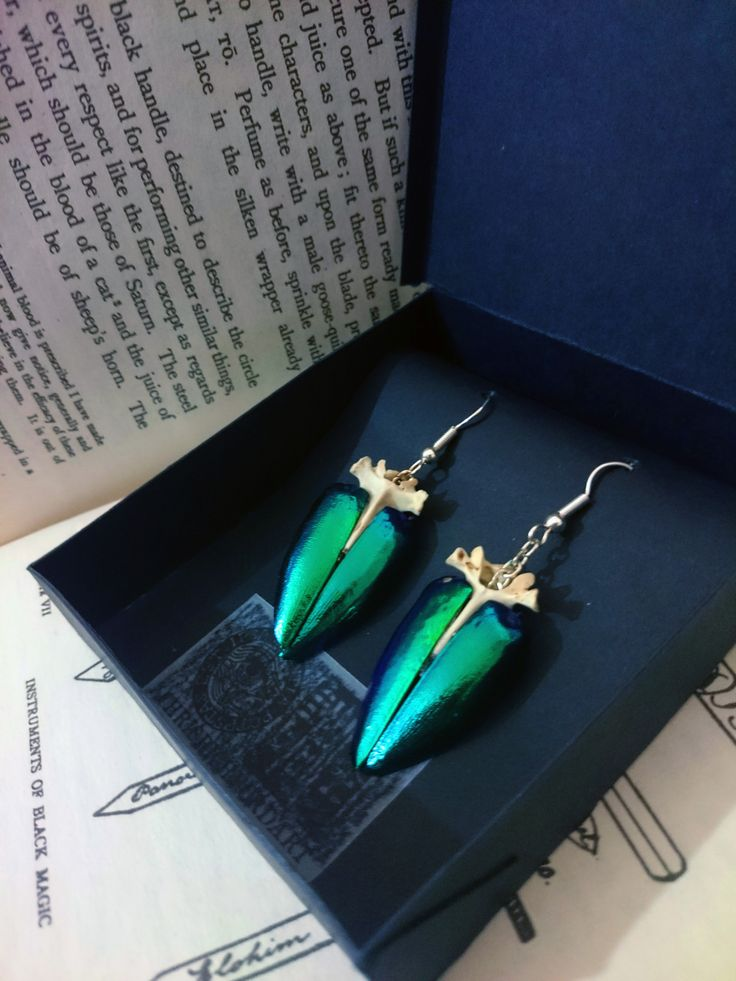 iridescent beetle wing and real bone earrings and jewelry on www.etsy.com/uk/shop/chrisrichfordart
