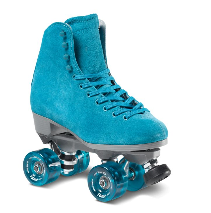 Boardwalk Fame is for Indoor Roller Skating. Each package features its own color indoor fame wheels that are perfect for indoor skating at the roller rink. Suede Leather boot Rock Nylon Plate Fame Art