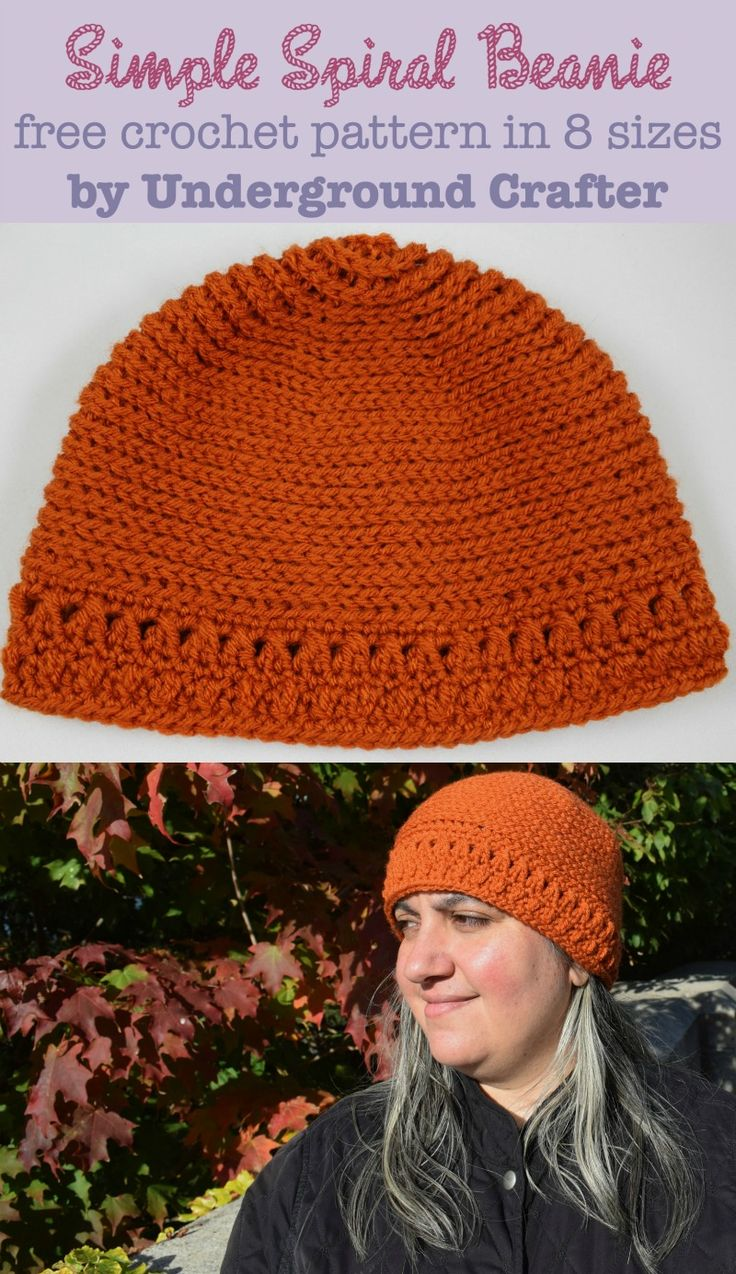 Simple Spiral Beanie, free #crochet pattern in Lion Brand Vanna's Choice in 8 sizes from newborn through adult large by Marie Segares/Underground Crafter.